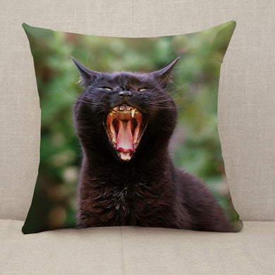 Black Cat Yawning Throw Pillow [With Inserts]