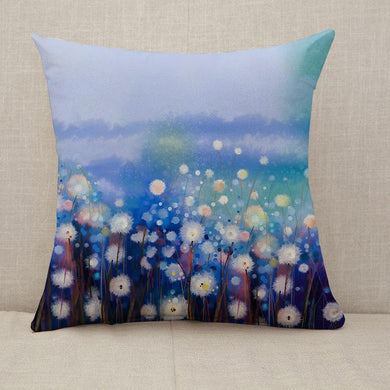 Spring white flowers field Throw Pillow [With Inserts]