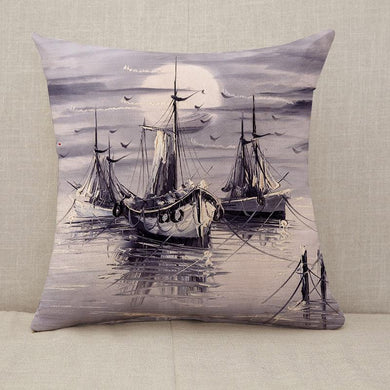 Sailboats with sunset Throw Pillow [With Inserts]