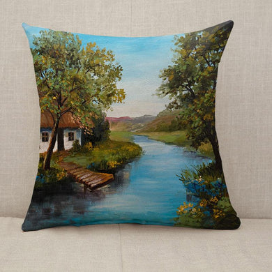 Farmhouse near the blue river Throw Pillow [With Inserts]