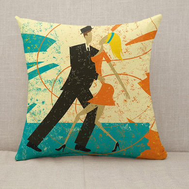 Retro Dancers Throw Pillow [With Inserts]