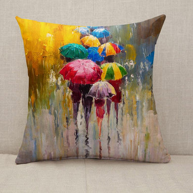 Rainy Day colorful umbrella Throw Pillow [With Inserts]
