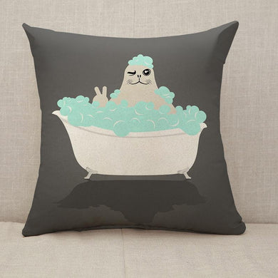 Funny seal in bathtub Throw Pillow [With Inserts]