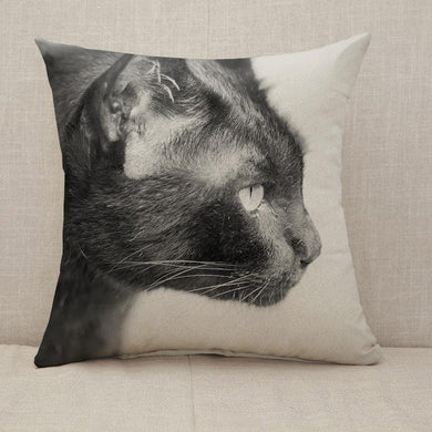 Black cat staring eyes commitment Throw Pillow [With Inserts]