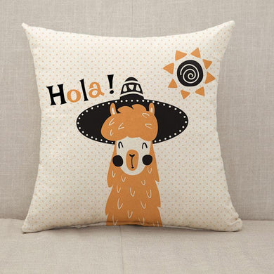 Llama in hat Hola Throw Pillow [With Inserts]