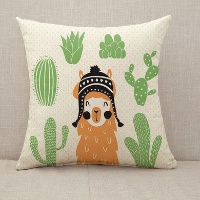 Llama in sombrero cactus around Throw Pillow [With Inserts]
