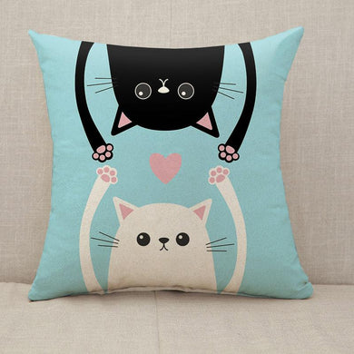 Black and white love cats pink heart Throw Pillow [With Inserts]