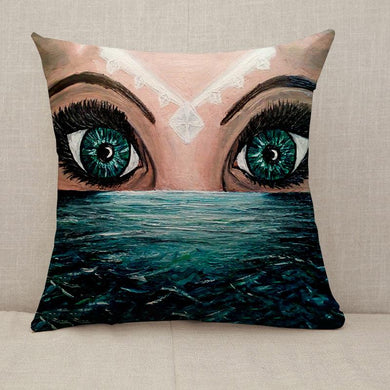 Fantasy two eyes above the sea Throw Pillow [With Inserts]