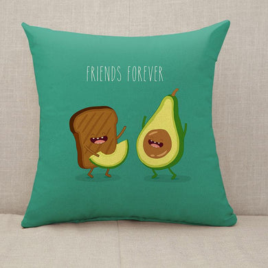 Avocado and brown bread friends forever Throw Pillow [With Inserts]