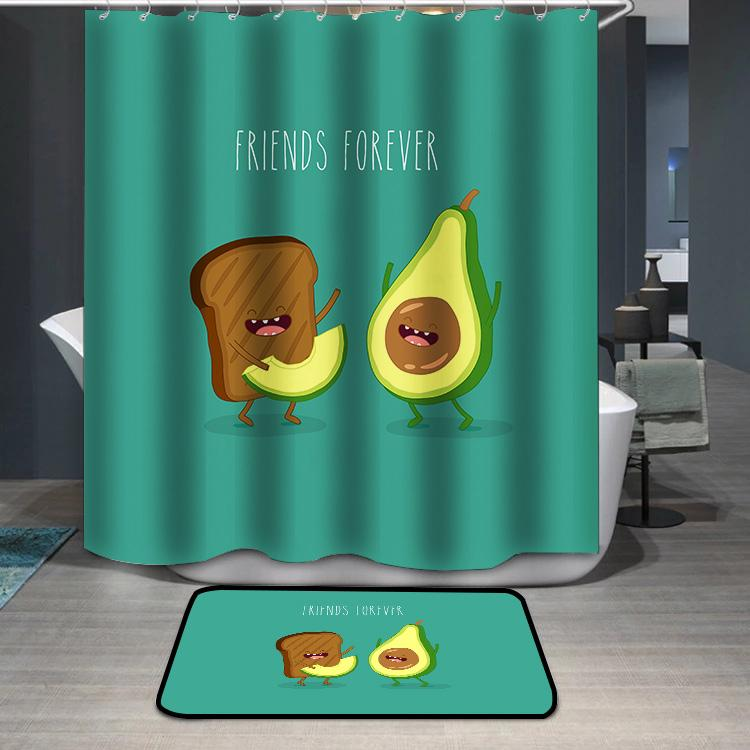 Avocado and brown bread friends forever Shower Curtain