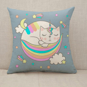 A sleeping catwith unicorn horn Throw Pillow [With Inserts]