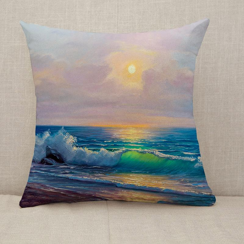 Morning on sea wave Throw Pillow [With Inserts]