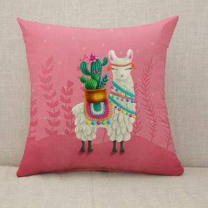 Cute llama cactus pink Throw Pillow [With Inserts]