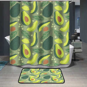 Whole and sliced avocado with leaves and flowers Shower Curtain
