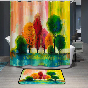 Oil painting colorful trees autumn Shower Curtain