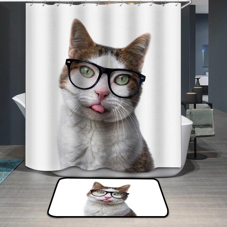 Funny tabby cat in nerd glasses put out his tongue Shower Curtain