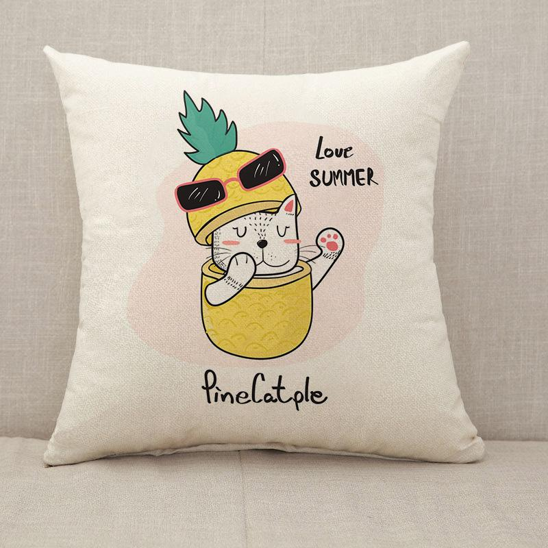Cute cat peeking throught a pineapple Throw Pillow [With Inserts]