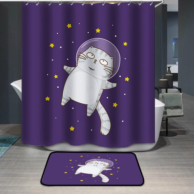 Cute scottishfold cat astronaut on starry space Shower Curtain