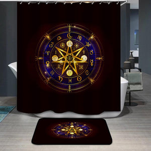 Old Gold Mandala Witches runes Ancient occult symbols Shower Curtain