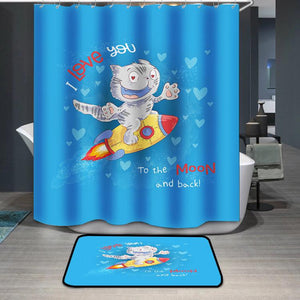 Cute cat flies on a rocket I love you to the moon and back Shower Curtain