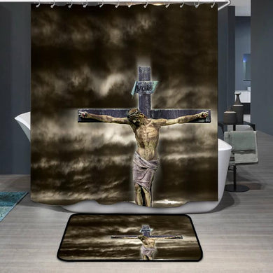 Jesus on the dramatic sky Shower Curtain