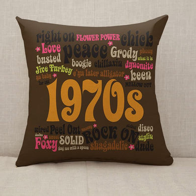 1970s Phrases and Slangs Throw Pillow [With Inserts]