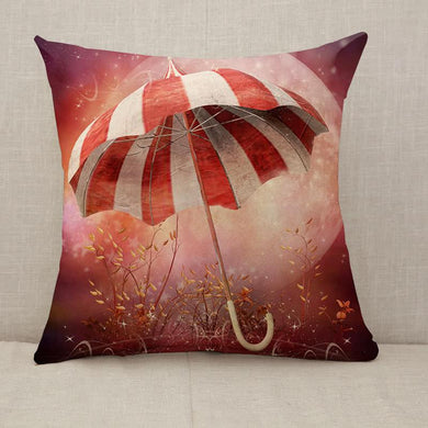Fantasy scenery with umbrella Throw Pillow [With Inserts]