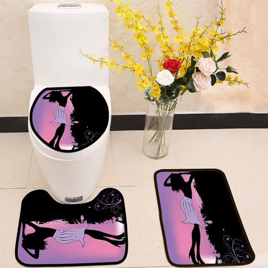 Beautiful sexy woman purple 3 Piece Toilet Cover Set