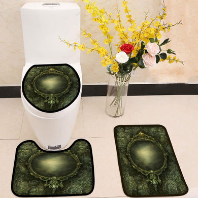 Ornate baroque mirror 3 Piece Toilet Cover Set