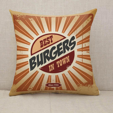 Retro burger sign Throw Pillow [With Inserts]