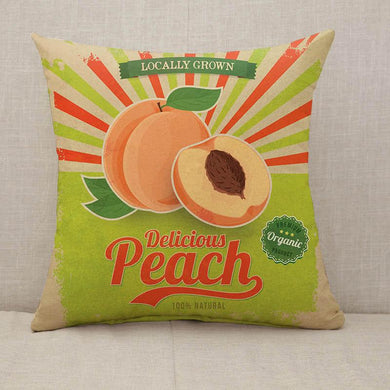 Colorful vintage Peach label poster Throw Pillow [With Inserts]