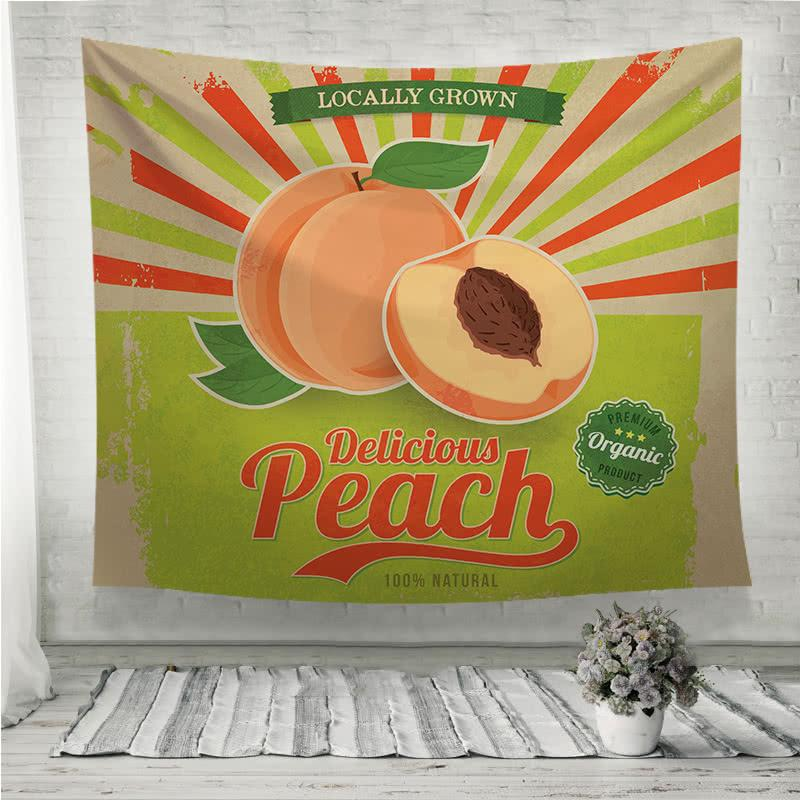 Colorful vintage Peach label poster Wall Tapestry