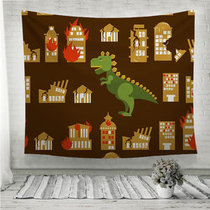 Godzilla destroys city Wall Tapestry