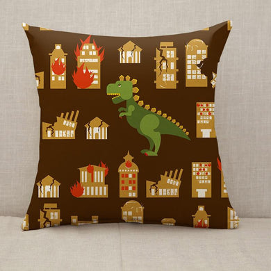 Godzilla destroys city Throw Pillow [With Inserts]