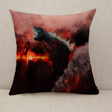 Godzilla burning a city Throw Pillow [With Inserts]