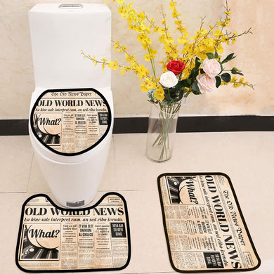 Old newspaper design 3 Piece Toilet Cover Set