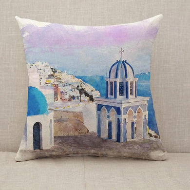 Santorini church watercolor Throw Pillow [With Inserts]