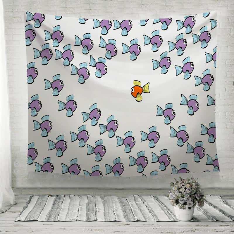 Swim Against The Tide Fish Wall Tapestry