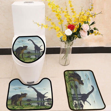 The family dinosaur 3 Piece Toilet Cover Set