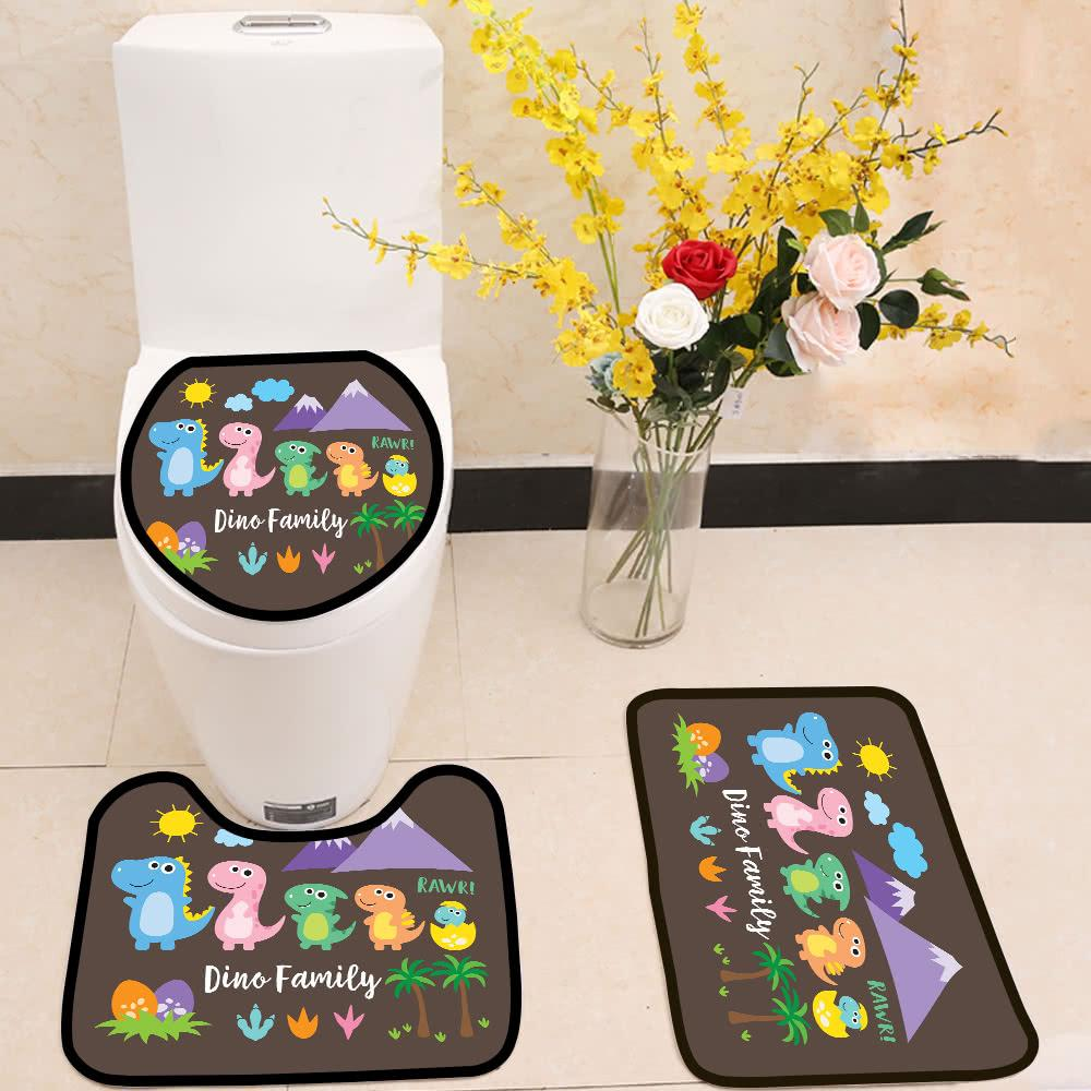 Cute Dinosaur Family 3 Piece Toilet Cover Set