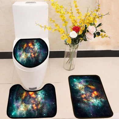 ArtisticSupernova Explosions In Multicolored Glowing Nebula Galaxy 3 Piece Toilet Cover Set