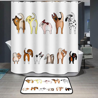 Funny dogs showing their butts Shower Curtain
