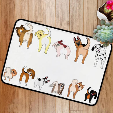 Funny dogs showing their butts Bath Mat