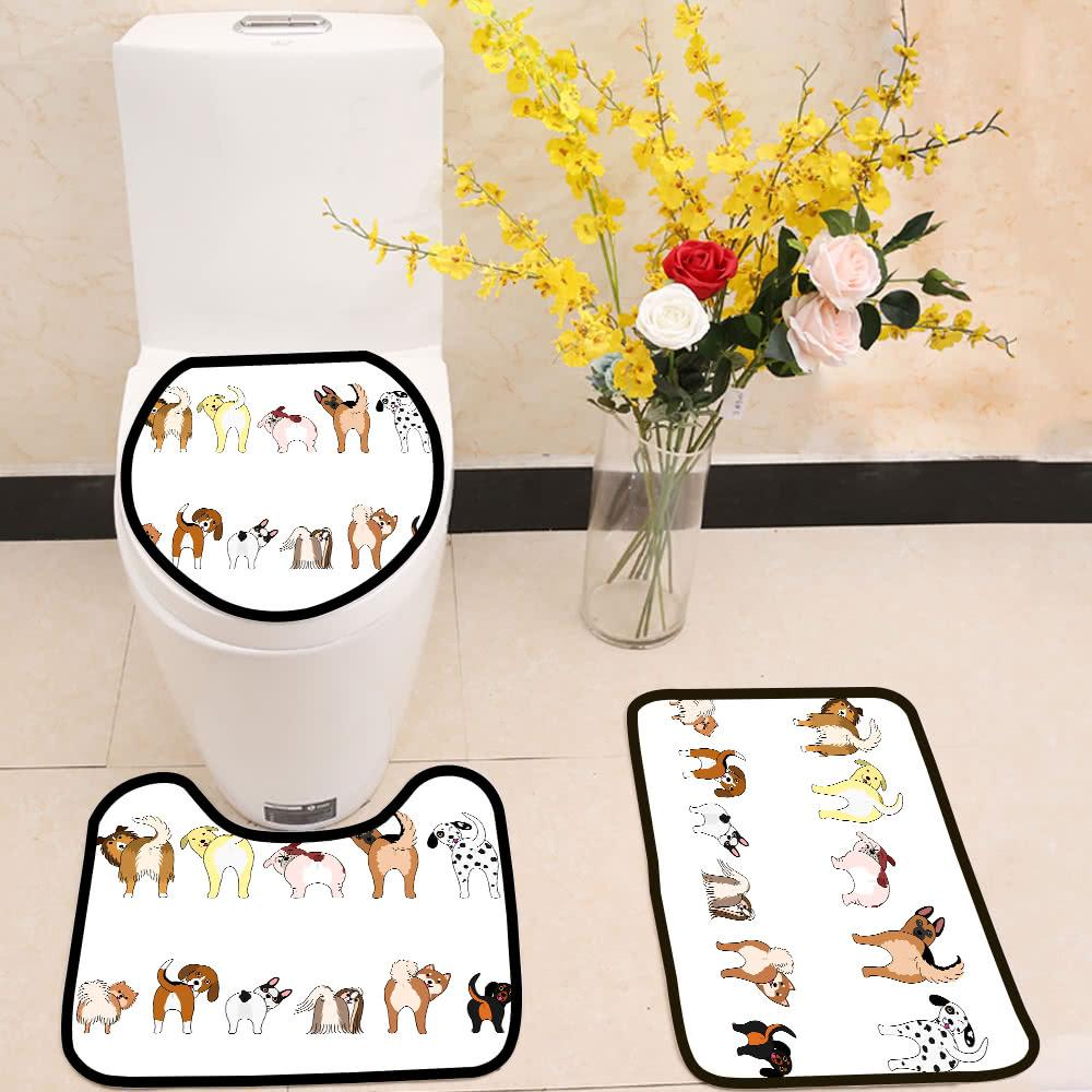 Funny dogs showing their butts 3 Piece Toilet Cover Set