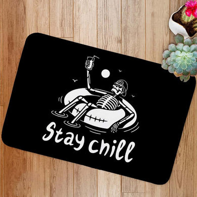 Stay Chill Skeleton In Cap Bath Mat