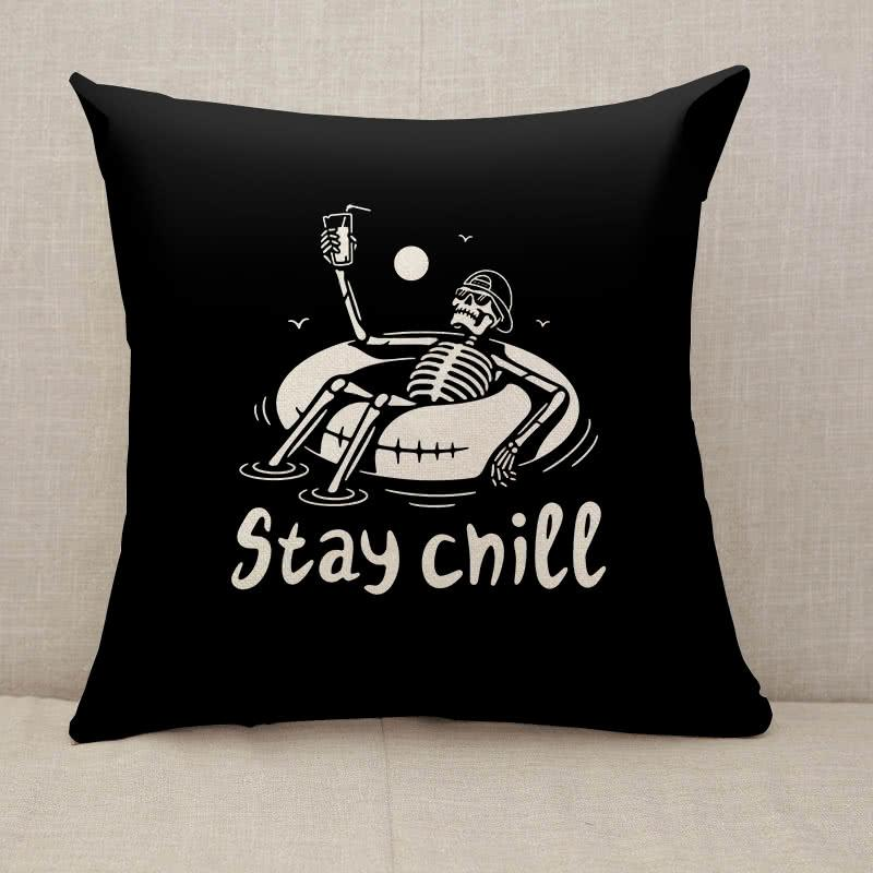 Stay Chill Skeleton In Cap Throw Pillow [With Inserts]