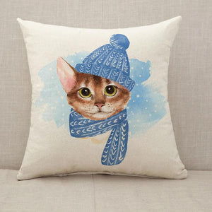 Cat in blue hat Throw Pillow [With Inserts]