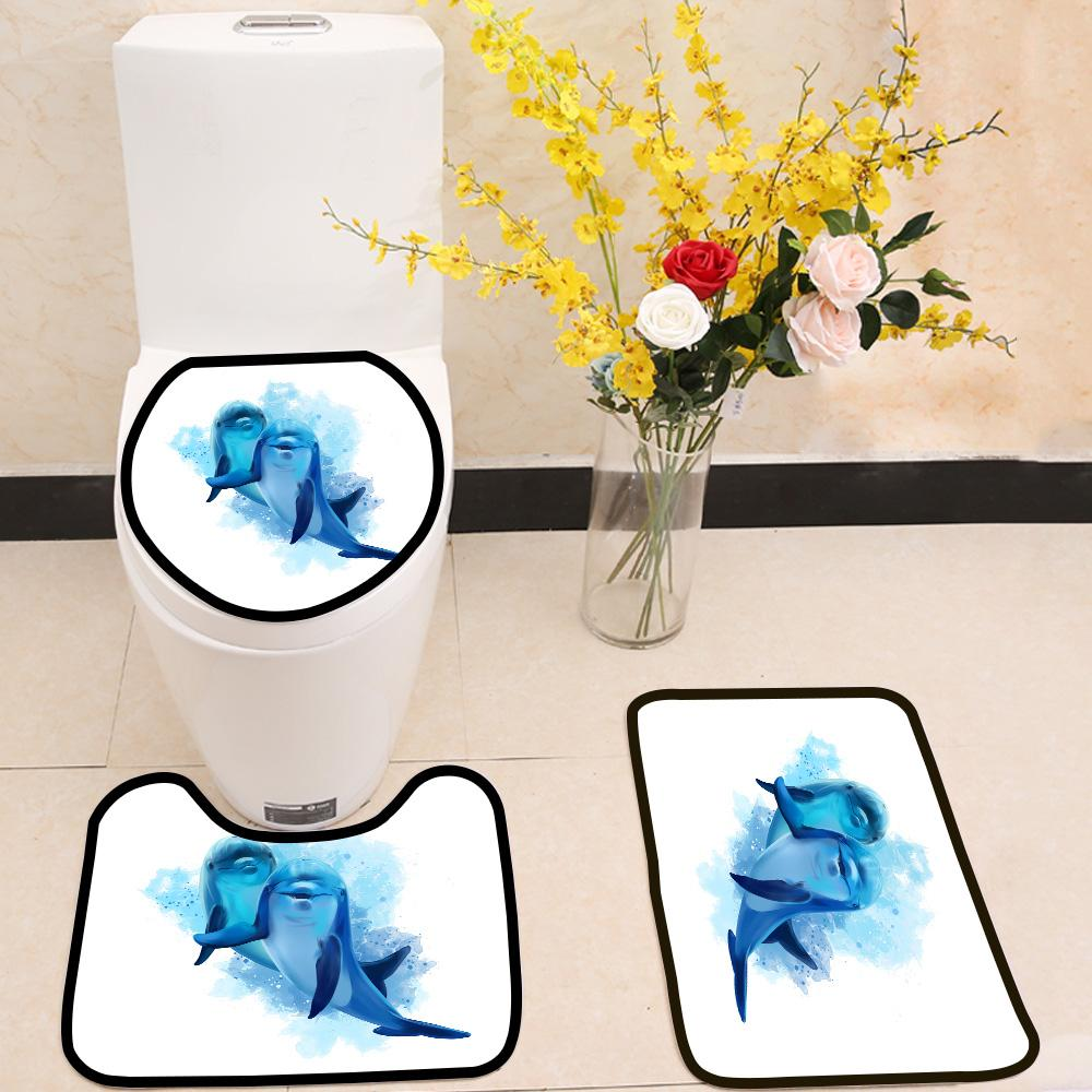 Two blue dolphins 3 Piece Toilet Cover Set