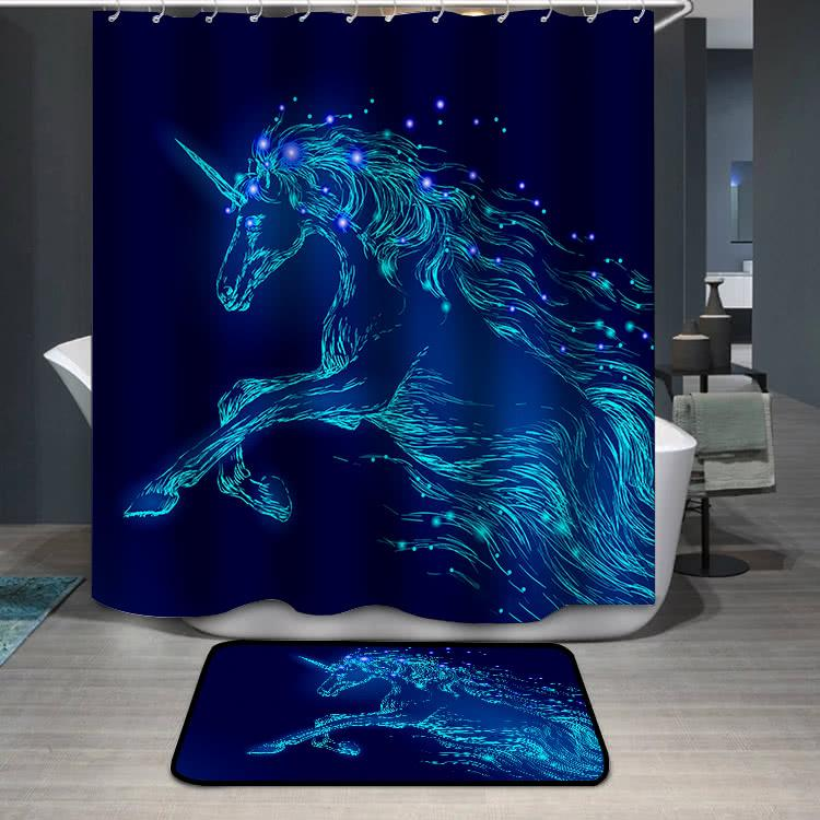 Blue glowing horse unicorn riding night sky star Shower Curtain