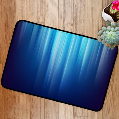 Abstract dark space glowing blue light lines Bath Mat
